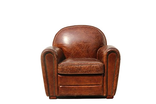 Pasargad Paris Club Chair Genuine Top Grain Leather