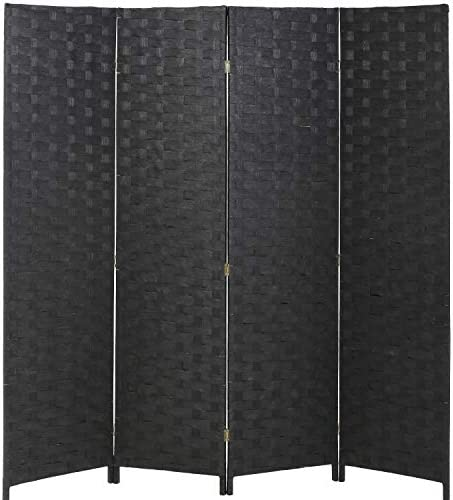 Vnewone Room Dividers and Folding Privacy Screens Curtain Partition Wall 4 Panel 6 ft Foldable Portable Handwork Wood Mesh Woven Design Freestanding Wooden Separator