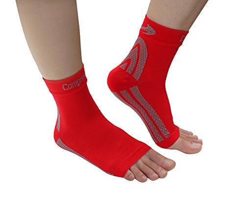 Foot Sleeves (1 Pair - Red M) Best Plantar Fasciitis Compression for Men & Women - Heel Arch