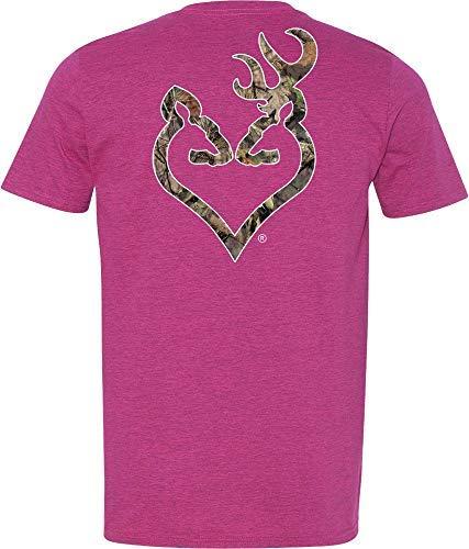 Browning Women's Mossy Oak Country Buckheart Short Sleeve T-Shirt (XL, Pink) (Store Browning Online)