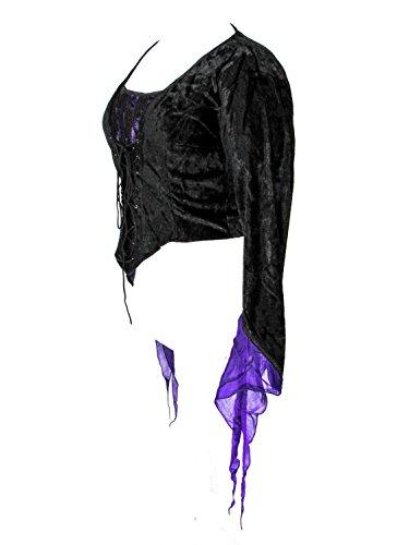 Dark Star Plus Size Black Velvet Purple Satin Medieval Gothic Lace Corset Top 1X-3X