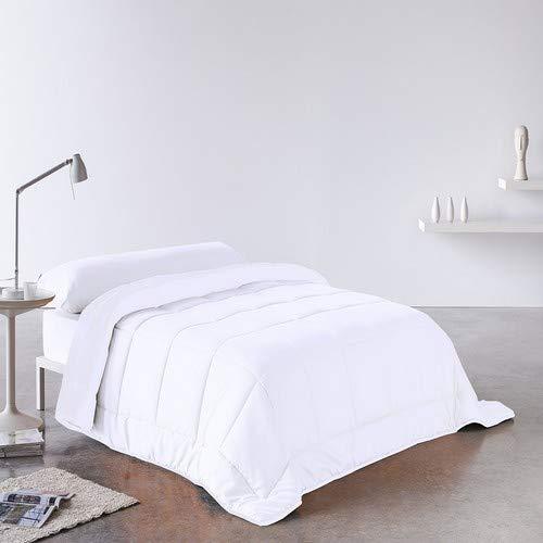 DHestia Edredon Relleno Nordico Fibra Pluma-Eco 250 gr, Hipoalergenico, Anti-acaros, (Cama 90-150x220 cm), Blanco, 150 x 220 cm