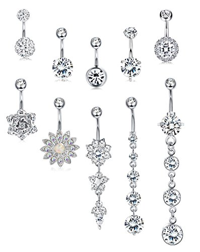 JOERICA 3-6PCS 14G Stainless Steel Belly Button Rings Navel Body Jewelry Belly Piercing CZ Inlaid (G:10Pcs,Silver-Tone) (Best Belly Piercing Jewelry)