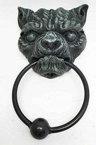 BULLDOG ANGRY GARGOYLE DOOR KNOCKER METAL RING KNOCKER BALL ()