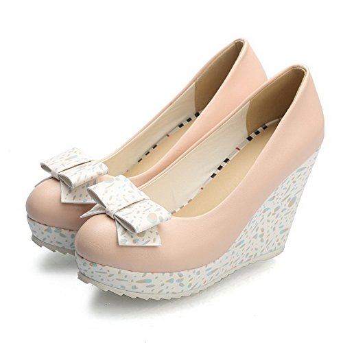 Amoonyfashion Mujeres Soft Material Round Closed Toe Tacones Altos Pull-on Solid Pumps-Zapatos Pink