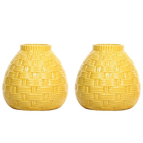 Hosley's Set of 2 Ceramic Yellow Vases - 6.5