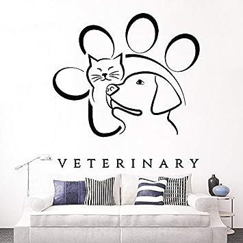 CFLEGEND Medicina Veterinaria Animal Mascota Tatuajes de Pared de Vinilo Pegatinas Mural Perro Gato Patrón Tatuajes de Ventana Poster Extraíble Wallpaper ...