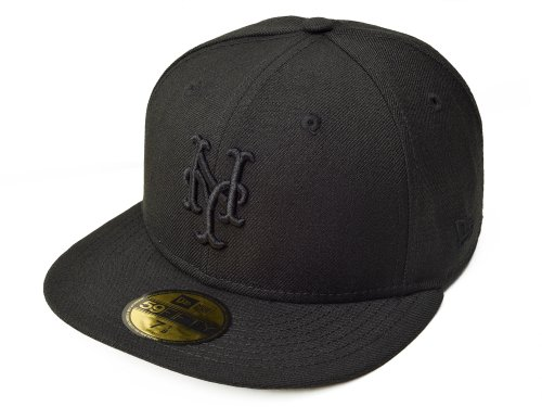 MLB New York Mets Black on Black 59FIFTY Fitted Cap, 7 3/8 (New York Mets Fitted Cap)