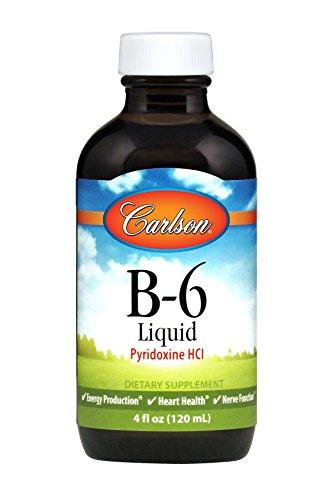 Carlson - B-6 Liquid, Vitamin B-6, Energy Production, Heart Health, Unflavored, 120 ml