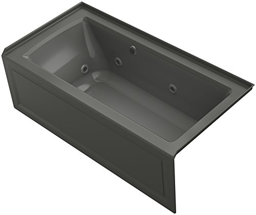 "KOHLER K-1947-RAW-58 Archer 60"" x 30"" Alcove Whirlpool Bath with Bask Heated Surface, Integral Apron, Tile Flange and Right-Hand Drain, Thunder Grey"
