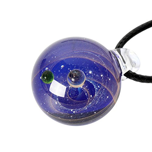 Umiwe Natural Nebula Glass Pendant Necklace Unique Universe Galaxy Necklace Jewelry for Women Girls Lovers-Series Nebula Ribbon Double Planet (Glass Unique Dichroic)