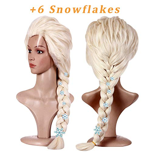 Anogol Hair Cap+Blonde Cosplay Wig Party Braid Hair Wigs for Costume Halloween with 6 Snowflakes