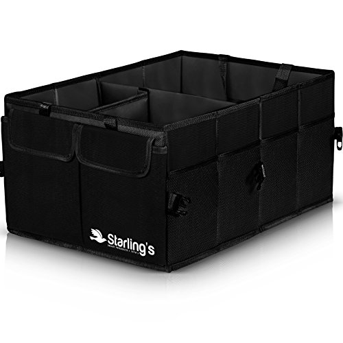 Car Trunk Organizer By Starling's-Black: Super Strong, Foldable Storage Box For Auto, Truck, SUV -Nonslip/Waterproof 3 layers Bottom W/Design Box