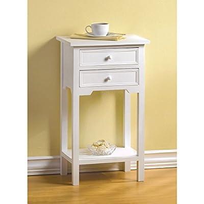 "Radkell Decor Arts Modern Wood 15"" Square Sofa End Side Table Small Nightstand 2 Drawers & Shelf"