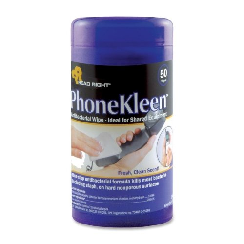 Wholesale CASE of 20 - Read/Right PhoneKleen Wipes-Phone Kleen Wipes, Pre-Moistened , 50/Tub