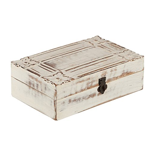 Valentine's Day Gift Decorative Wooden Jewelry Box Trinket Organizer Keepsake Box Multipurpose Accessories - Mango Wood (Design 1) Beautiful Gift on all Occasions. - Swarovski Crystal Cross Handles