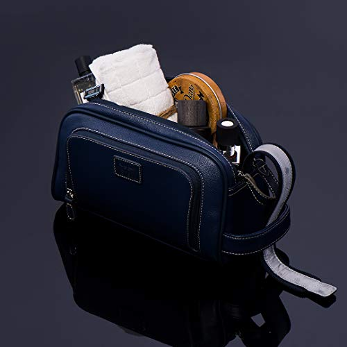 a2a65b7d98a Vetelli Gio Leather Toiletry Bag for Men - Dopp Kit - Handmade for  Travelling Vacations and