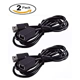 Pernos Classic Controller Extension Cable - Nintendo SNES and Mini NES Classic Edition-2016, Black (2 Pack) 3M (10')