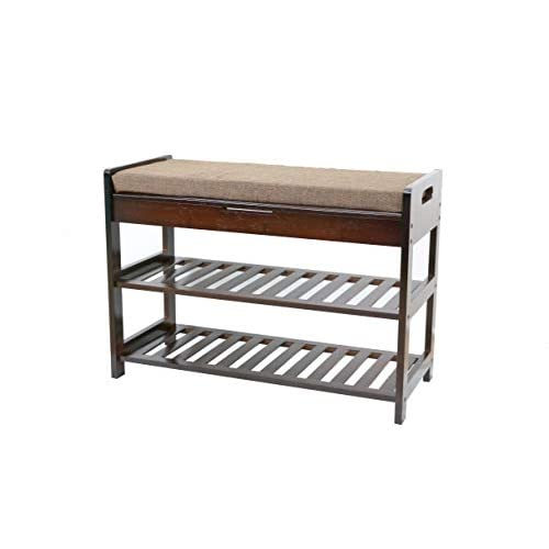 UNICOO - Antique Style Bamboo Shoe Bench Rack with Cushion Upholstered Padded Seat Storage Shelf Bench, 2-Tier Shoe Rack Entryway Shoe Storage Organizer (Antique Brown-70)