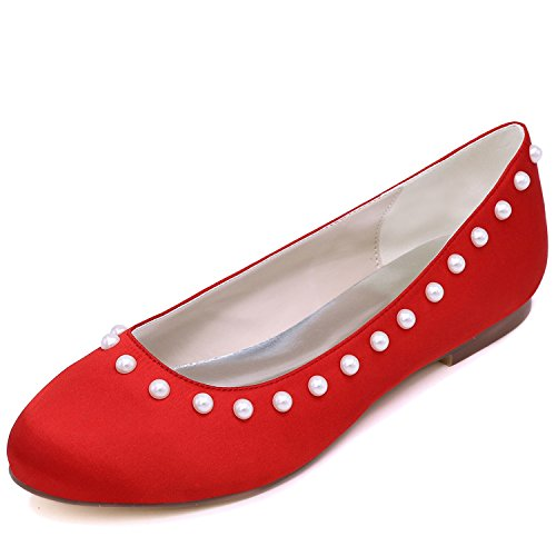 Mujeres Noche Las Perlas Prom Zapatos Elobaby Tobillo Boda Taln Estndar De 1cm moderno Satinado Red Plano tqwI47