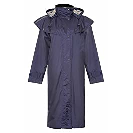 HuntaDeal Womens Long Riding Coat Ladies Waterproof Fabric Lined Riding Cape Coat Jacket Trench Coats Macs Lined Detachable Hood Taped Seams Walking Outdoors | Full Length