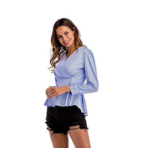 Da Cnsdy Scozzesi Donna Maniche Scollo Con V Camicie Irregolare Camicia L Lunghe Slim A Vestibilità pC5Cq