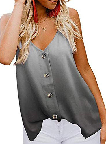 jonivey Button Down V Neck Loose Sleeveless Tank Tops Casual Shirts Blouses (Gradual ()