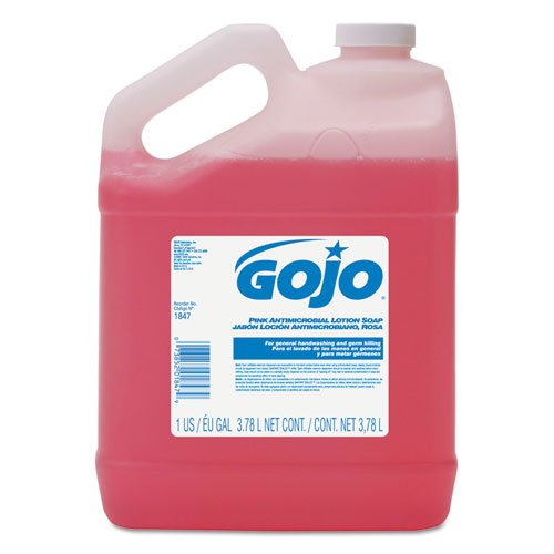 GOJO 184704 Antimicrobial Lotion Soap, Floral Balsam Scent, 1 gal Bottle (Case of 4) Antimicrobial Soap Gallon Pour Bottle
