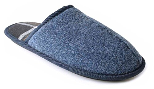 SlumberzzZ Woven 7 Lined UK Check Blue Mule Size Slippers Men's rSzgqUnr