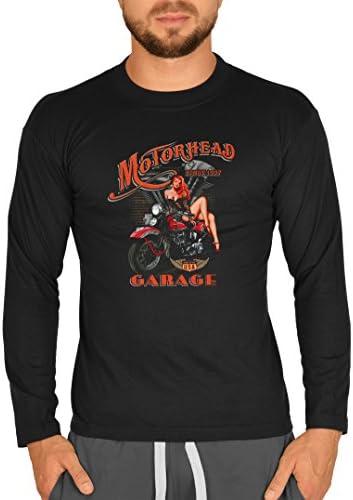Biker Camisa – Motorhead Garage with Pin Up Girl – Camiseta de manga larga para verdadera Kerle: Amazon.es: Ropa y accesorios