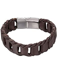 Brown Woven Leather Bracelet Simple Wristband Bangle Men Women, Magnet Clasp