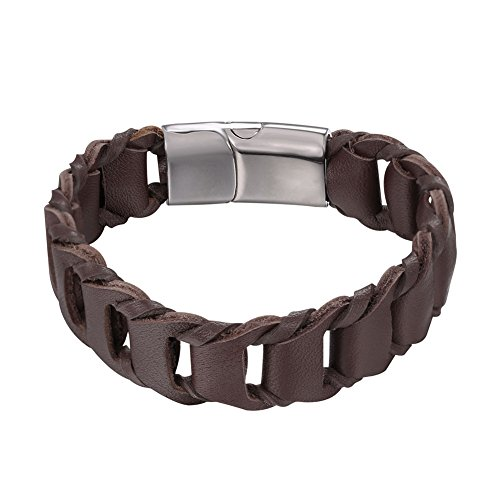 U7 Brown Woven Leather Bracelet Simple Wristband Bangle Men Women, Magnet Clasp