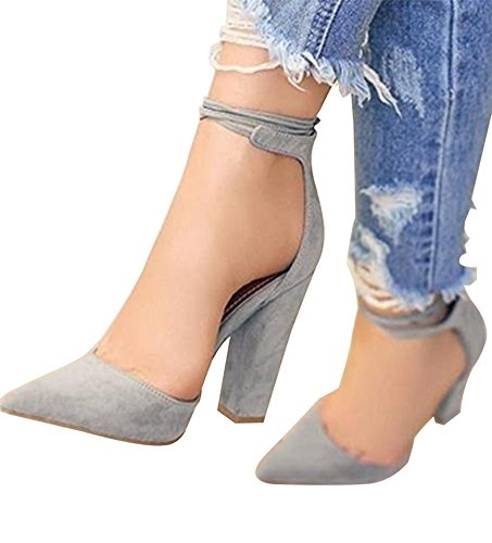 Huiyuzhi Womens Chunky Ankle Strappy Sandal Pointed Toe High Heels (7.5 B(M) US, Grey)