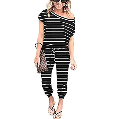 Angashion Women's Jumpsuits - Crewneck One Off Shoulder Short Sleeve Elastic Waist Romper Playsuits with Pockets: Clothing