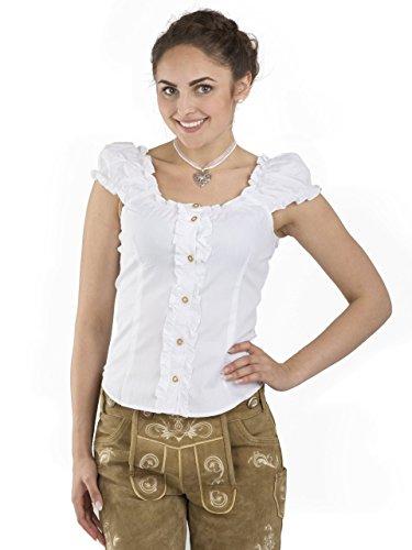 Trachtenbluse Carmen weiss - elegante Bluse - Trachten Carmenbluse (38, Weiss)