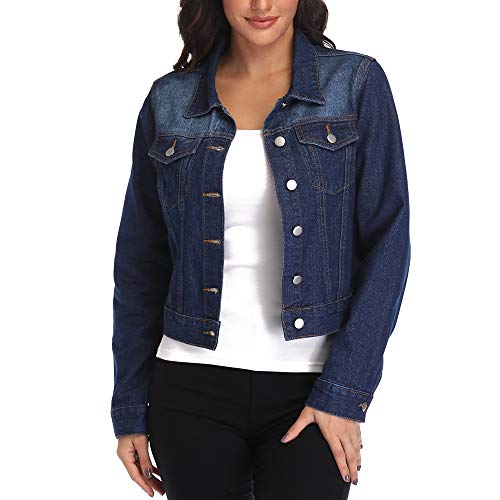 - andy & natalie Women's Crop Denim Jacket,Jean Jacket w 2 Side Pockets