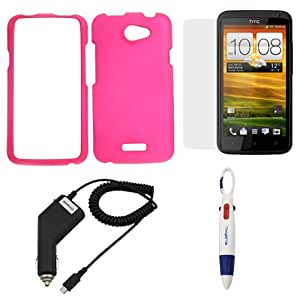 GTMax Hot Pink Rubberized Snap On Case + Clear LCD Screen Protector + Car Charger + Pen with 4 Colors for HTC One X Endeavor, HTC One X+