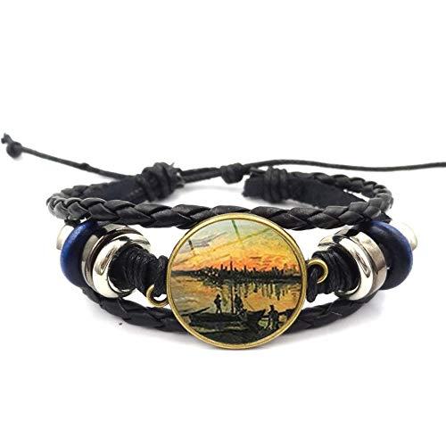 ESCYQ Mens Bracelets Bangles,Time Gemstone Bracelet Sunset Pattern Hand-Woven Bracelet Bracelet European and American Jewelry (Bracelet Sunset Beaded)