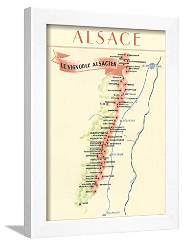 ArtEdge Map of Alsace Region Wine Country White Wall Art Framed Print, 16x12 in -