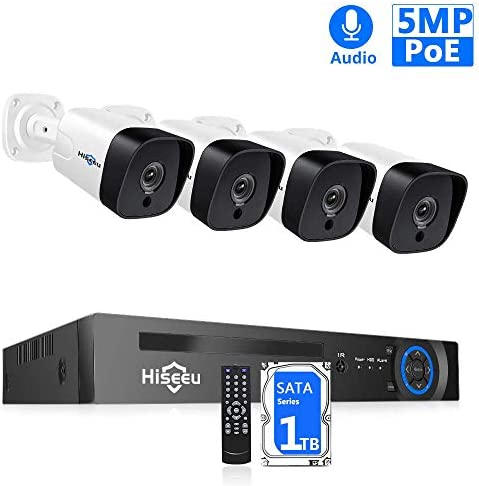 5MP 8CH Hiseeu PoE Security Camera System,8Channel 5MP H.265 NVR,4Pcs PoE Cameras,2592 by 1944 Pixels,Phone PC Remote,Microphone,Night Vision,Waterproof,Onvif,Motion Alert,24 7 Recording,1TB HDD