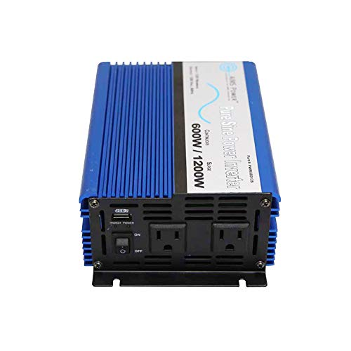 AIMS Power PWRI60012S Pure Sine Power Inverter, 600W Continuous Power, 12 Volt, With USB Port, and Dual AC Receptacle