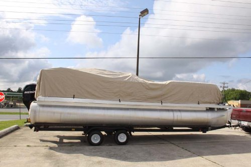 BRAND NEWBEIGE/TAN 22' VORTEX ULTRA 3 PONTOON BOAT COVER, HAS ELASTIC AND STRAPS FITS 20'1'' TO 21' TO 22' FT LONG DECK AREA, UP TO 102'' BEAM (FAST SHIPPING - 1 TO 4 BUSINESS DAY DELIVERY)