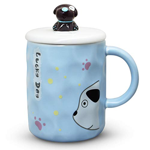 (Notrefly Dog Mug With Lid And 3D Novelty Puppy Head Stainless Steel Spoon Ceramic Funny Dog Coffee Mug, Dog Tea Cup Gift For Dog Lovers Women And Girls, Blue,11oz)