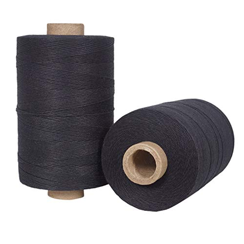 (Warp Thread for Weaving Loom - 1 Spool of 850 Yards 8/4 Warp Yarn 100% Cotton - Black Color - Perfect Warping Thread for Weaving Tapestry Carpet Rug Blankets and)