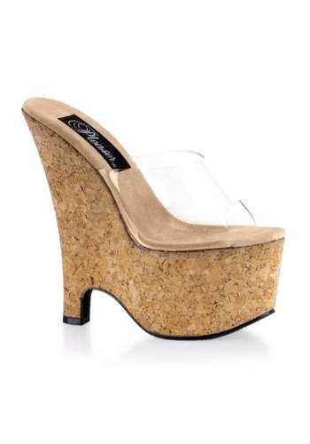 Pleaser Women's Beau-601,Clear/Cork,8 M Clear Cork Wedge