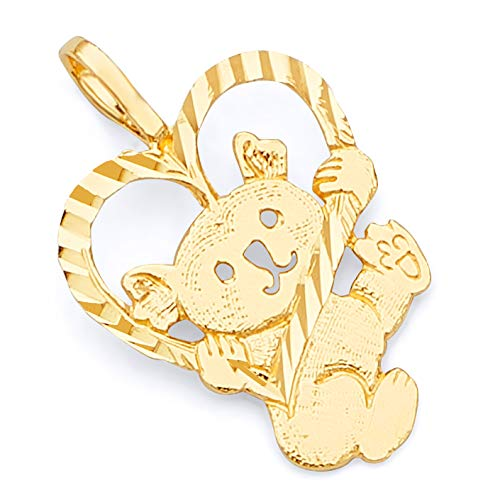 (14k Yellow Gold Bear with Heart Pendant)