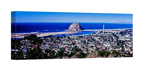 Easy Art Prints Panoramic Images's 'View of City at Waterfront, Morro Bay, San Luis Obispo California' Premium Canvas Art 24 x 8