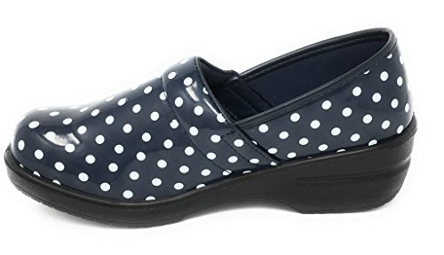 Rasolli Women's Professional Closed Back Clogs, White Polka Dots, Navy, Size 7.5 -