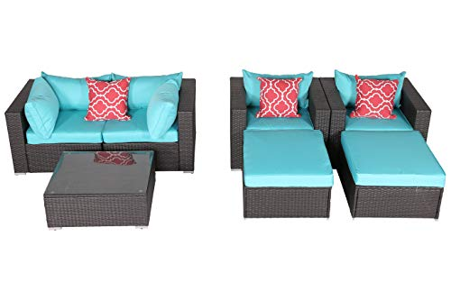 HTTH 7 Piece Patio Conversation Set, Outdoor PE Wicker Furniture Patio Sectional Furniture Sofa Set with Blue Seat and Back Cushions, Steel Frame, Espresso Brown –Include 2 x Pillows (HT-EXP-7sofa)