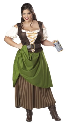 [California Costumes Plus Size Tavern Maiden Costume, Olive/brown, 1XL (16-18)] (Plus Size Halloween Costumes For Women)